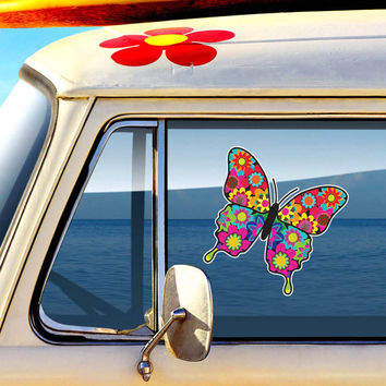 Floral Butterfly Decal - Colorful Car Decal Vinyl Bumper Sticker Hippie Boho Laptop Decal Pink Blue Teal Yellow Green