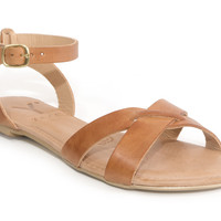 Yayas Greece - Tan Leather Flat Sandals
