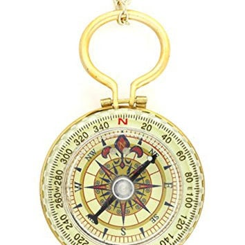 Compass Explorer Necklace Gold Tone Antique Magnetic Directions Charm Pendant NN51 Fashion Jewelry