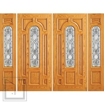 Prehung Mahogany Center Arch Lite Home Double Door Two Sidelights