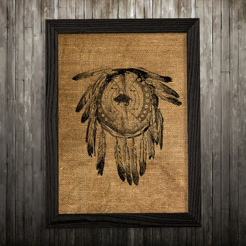 Dreamcatcher print Tribal art Antique poster Burlap print BLP88