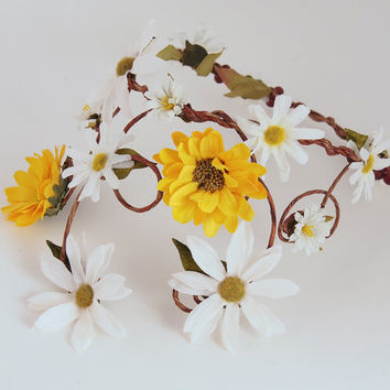 Floral Bridal Crown - Yellow Sunflowers & White Daisies - Bohemian Fall Wedding Head Piece - Rustic Vines and Flowers