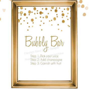 Set of 5 printable white and gold champagne bridal shower signs/ champagne brunch signs/ champagne bridal shower/ mimosa bar