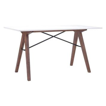 Saints Mid-Century Modern Office Desk White & Walnut