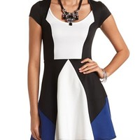CAP SLEEVE COLOR BLOCK SKATER DRESS