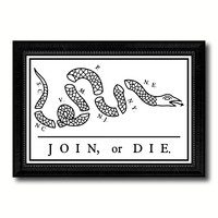 US Join or Die Snake Colonial Revolutionary War Military Flag Canvas Print Black Picture Frame Gifts Home Decor Wall Art