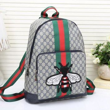 Gucci Unisex Trending Casual Fashion Classic Print Multicolor Stripe Bee Embroidery Backpack Large Capacity Travel Double Shoulder Bag G-3