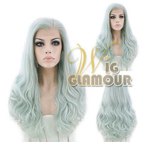"Long Curly 24"" Mixed Light Green Lace Front Hair Wig Heat Resistant"