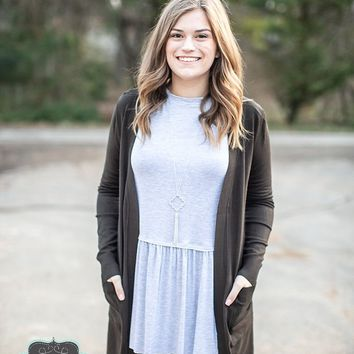 Dark Olive Long Sweater Cardigan