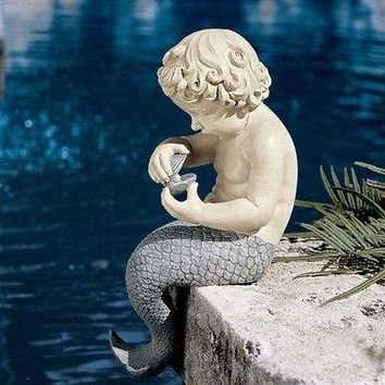 Young Little Sitting Mermaid Statue with Oyster & Pearl