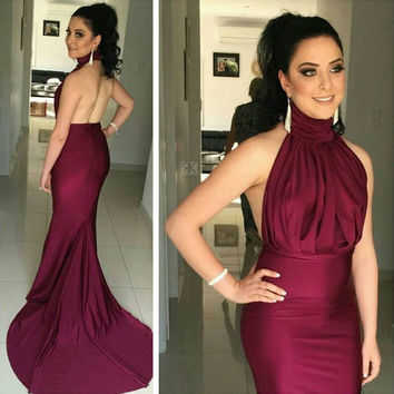 Custom Made burgundy Sexy Mermaid Prom Dress Halter Pageant Party Dresses Backless Formal Evening Dress Prom Gowns