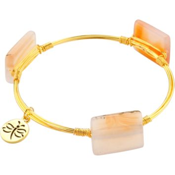 Crystal Wire Bangle Agate Ivory to Deep Golden Stones