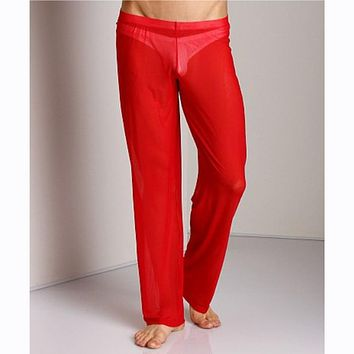 New Sexy Mens Mesh Sheer See Through Long Pants Trousers Home Casual Loose Ultra-thin Sleep Bottoms Pajama Underwear Underpants