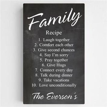 Family Recipe Canvas Sign Free Personalization