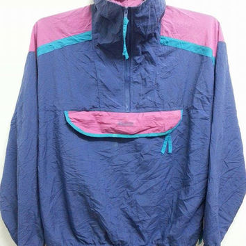 Sale Vintage 1990s Columbia Sportwear Sweater Neon Jumper Pull Over Nylon Jacket (For Ladies)