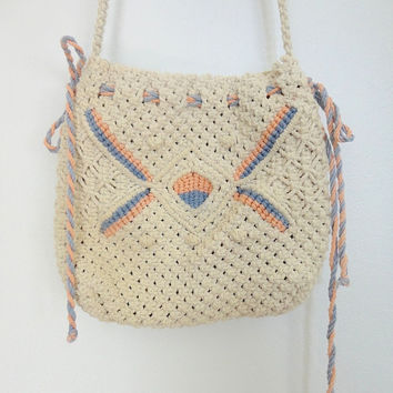 Vintage Crocheted Purse / Crossbody Bag / Cream White Peach Blue Macrame / 1970s 1980s 70s 80s