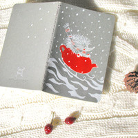 Christmas Hedgehog Cahier Handpainted Journal Moleskine Red Teapot Sleigh