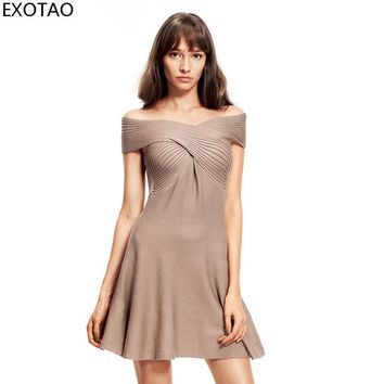 EXOTAO Criss-Cross Bodycon Dress Women Knitting Off Shoulder Summer Autumn Casual Jumper Sexy Slim Package Chest Mini Robe Mujer
