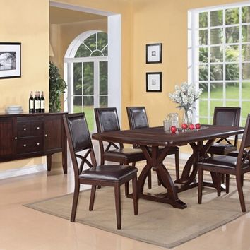 7 pc Inez contemporary collection espresso finish wood double cross pedestal table set with leather like vinyl upholstered chairs