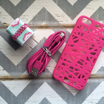 New Super Cute Jeweled Multi Colored Floral Designed Dual Wall USB Connector + 10ft Hot Pink IPhone 5/5s Cable Cord + Pink Birdnest Case