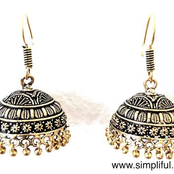 Antique gold Oxidized simple hook drop Earring