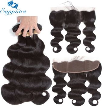 Sapphire Human Hair Peruvian Body Wave Human Hair Bundles With Lace Frontal Closure 100% Human Hair 3 Bundles With Lace Frontal