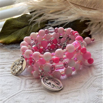 Two-Tone Pink & Silver Rosary Bracelet w/Silver Charms St Faustina/Madonna/Crucifix/Catholic