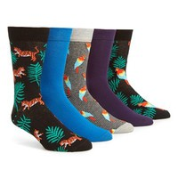 Men's Topman 'Tropical Animal' Socks - Black (5-Pack)