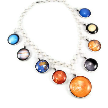 Planet Necklace - Solar System Statement Necklace, Pendant Necklace, Astronomy, Science, Mother's Day