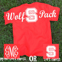 NC STATE Wolf Pack Spirit Jersey Tee Shirt ~ Monogram or not ~ North Carolina