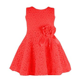 Summer 3 color Toddler Baby Girls Kids Lace Floral Dress One Piece Party Sleeveless Princess Bowkot Dresses