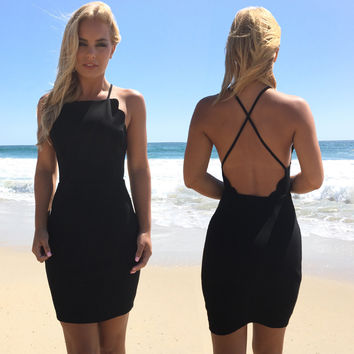 Bend The Rules Scallop Little Black Dress