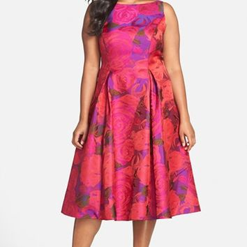 Plus Size Women's Adrianna Papell Floral Jacquard Party Dress,