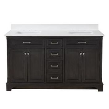 Shop allen + roth Roveland Black Oak Undermount Double Sink Bathroom Vanity with Engineered Stone Top (Common: 60-in x 22-in; Actual: 60-in x 22-in) at Lowes.com