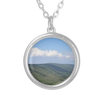 Mountain Photo Silver Plated Necklace