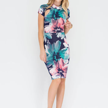Floral Formation Cut-Out Lace-Up Dress