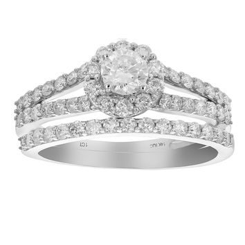 0.27 Carats 1 CT Diamond Halo Round Wedding Engagement Ring Set 14K White Gold