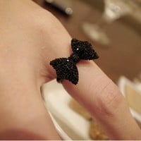 Adjustable Black Rhinestone Studded Bow Ring