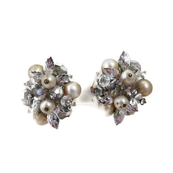 Vintage Earrings, Vendome Clip ons, Rhinestone, Faux Pearl, Cluster Bead Silvertone Earrings, Signed Designer Mid Century Jewelry
