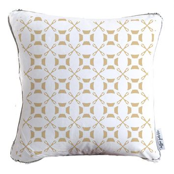 Golden Ornament Asian-Style Decorative Throw Pillow w/ Reversible Gold & Silver Sequins