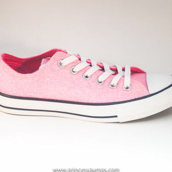 Bubblegum Pink Glitter Canvas Converse All Star Low Top Sneakers Shoes