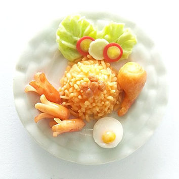 Kantiya Miniatures Dollhouse Barbie Food : Realistic Thai Food Collection : Fried Rice with Sausage, Fried Eggs and Chicken Drum Stick , 2 Inches approx.