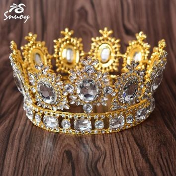 New Arrival Luxury Golden Wedding Crowns Noble Big Crystals Queen Tiaras for Women Pageant Party Hair Accessories
