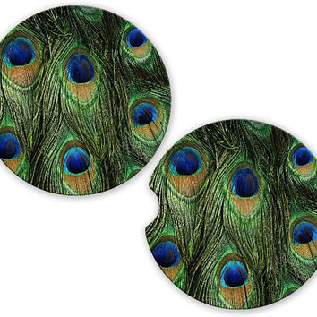 Car Coasters Peacock Feathers , Cup Holder Coaster, Peacock Bird Print Gift Sandstone