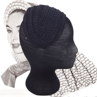 Vintage 1940's Fascinator Ladies Hat Navy Blue Braided Trim Wide Headband Hat 40s Costume Hat Cocktail Hat Spring Summer