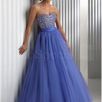 Royal Blue Ball Gown Sweetheart Floor Length Beaded Prom Dress