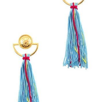 ACAPULCO FRINGE TASSEL EARRINGS - BLUE + MULTI