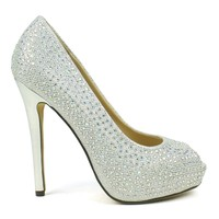 Celeste Ingrid-01 Embellished High Heel Peep-Toe Dress Pump in Silver @ ippolitan.com