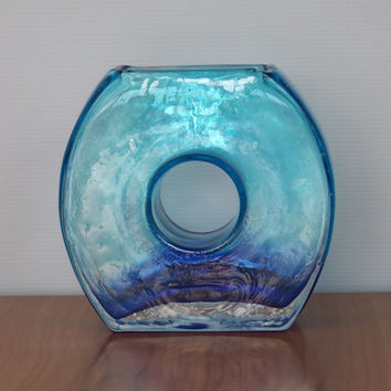 Vintage Modern Art Glass Vase // Geometric Circle // Hand Blown Blue Seeded Glass // Mid Century Modern Home Decor