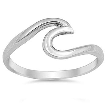 Women Fashion Wave Ring Simple Design Stainless Steel Wedding Finger Jewelry